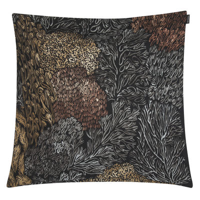 Decoration - Cushions & Poufs - Poronjäkälä Cushion cover - / 50 x 50 cm by Marimekko - Poronjäkälä / Black & brown - Cotton, Linen