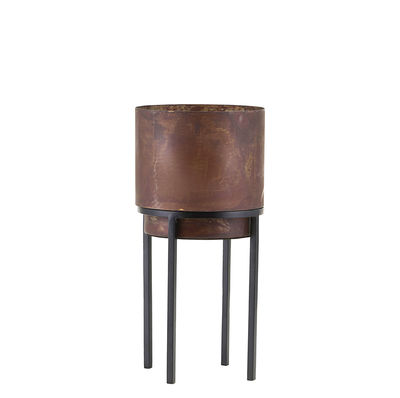 Outdoor - Pots & Plants - Nian Small Flowerpot - / With legs - Ø 15 x H 32 cm by House Doctor - H 32 cm / Rust - Steel