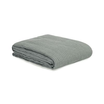 Déco - Textile - Housse de couette 2 personnes / 240 x 220 cm - Lin lavé - Au Printemps Paris - Rayé kaki - Lin lavé