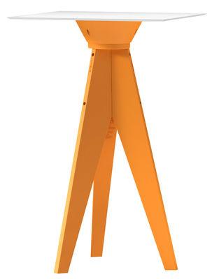 Mobilier - Mange-debout et bars - Mange-debout Oxford / 70 x 70 cm - Plastique - MyYour - Orange / Plateau blanc - HPL, Plastique Poleasy ®
