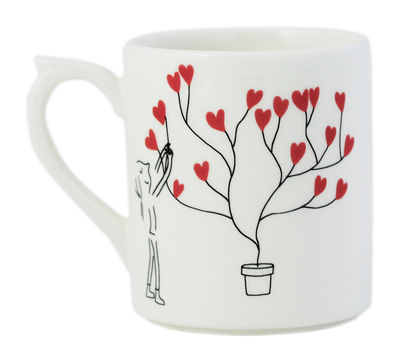 Mug Les amoureux / 25 cl - GIEN blanc,rouge,noir en céramique
