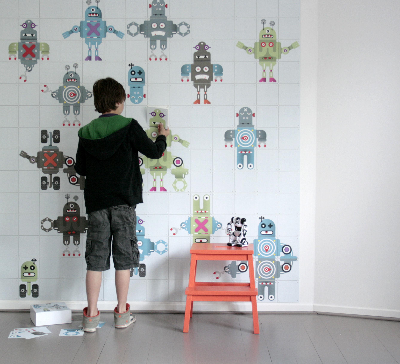 Déco - Pour les enfants - Panneau décoratif Wallpaper Robot / 1,5 m² - ixxi - Multicolore / Robots - Papier synthétique