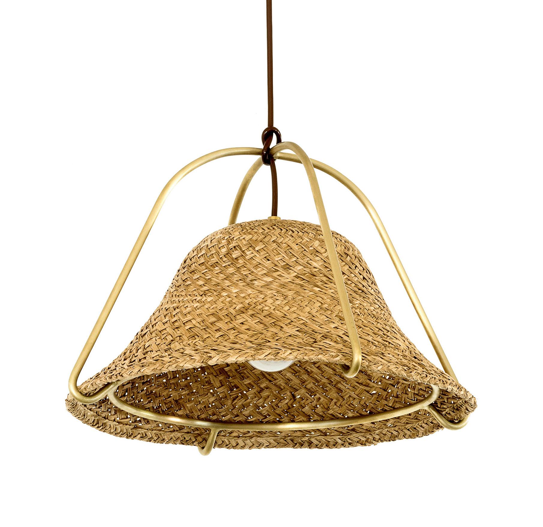 Lighting - Pendant Lighting - Paleae Pendant - Ø 40 cm - Woven palm by Spécimen Editions - Palm / Brass structure - Acier finition laiton, Hand woven palm