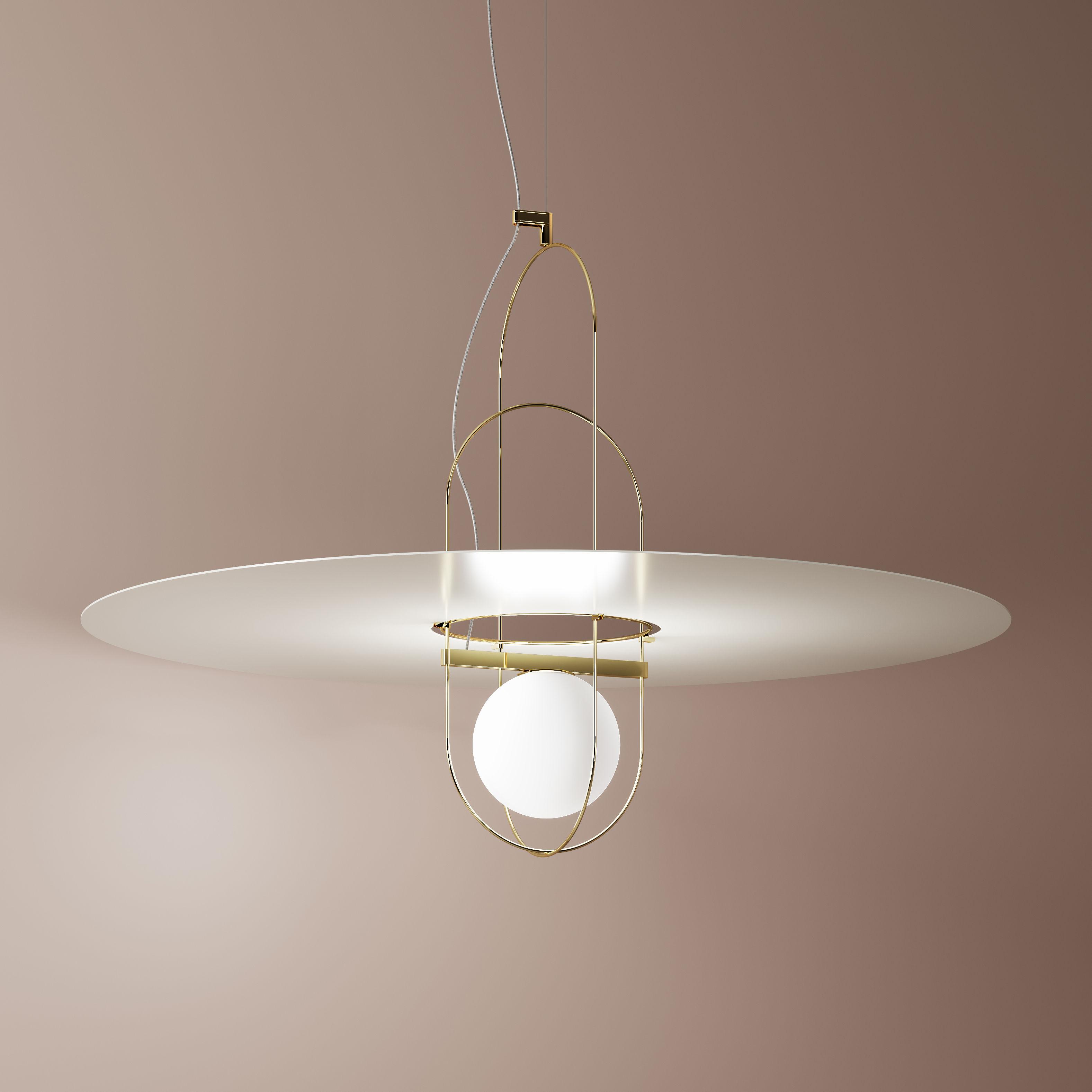 Lighting - Pendant Lighting - Setareh Pendant - / LED - Ø 100 x H 55 cm by Fontana Arte - Gold & white - Metal, Mouth blown glass