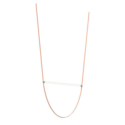 Lighting - Pendant Lighting - WireLine LED Pendant - / Glass tube L 130 cm & rubber strap by Flos - Pink strap / Transparent tube - Fluted glass, Rubber