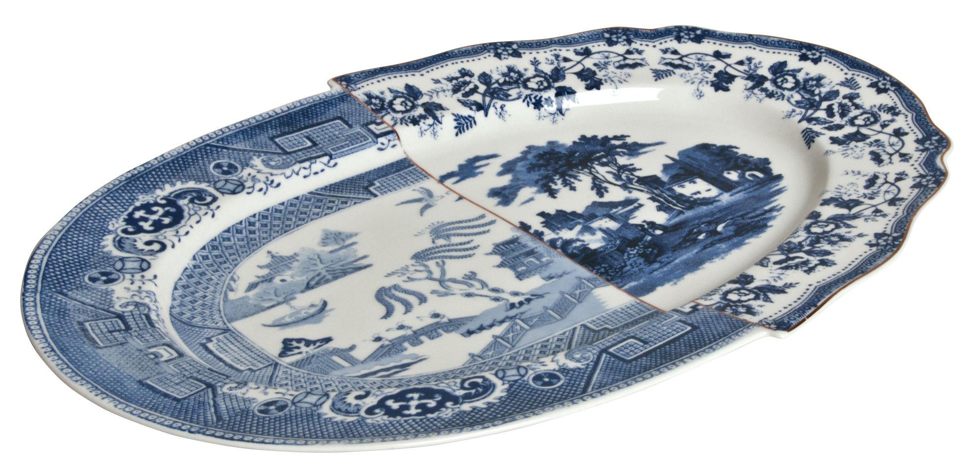 Tischkultur - Platten - Hybrid Diomira Platte / 37 x 24 cm - Seletti - Blau - chinesisches Weich-Porzellan