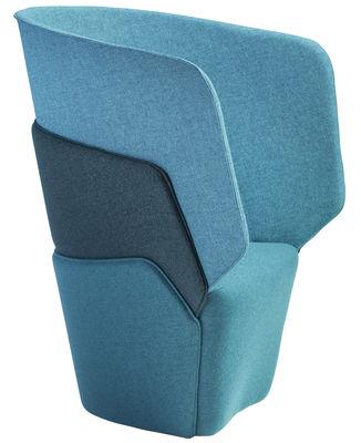 Arredamento - Poltrone design  - Poltrona imbottita Layer di Offecct - Toni di blu - Espanso, Legno, Tessuto