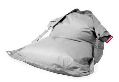 Pouf Buggle-up Outdoor / Avec sangles ajustables - Fatboy L 190 x Larg 140 cm argent en tissu