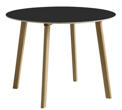 Furniture - Dining Tables - Copenhague CPH Deux 220 Round table - Ø 98 cm by Hay - Black / Natural oak - Laminate, Solid oak, Stratified