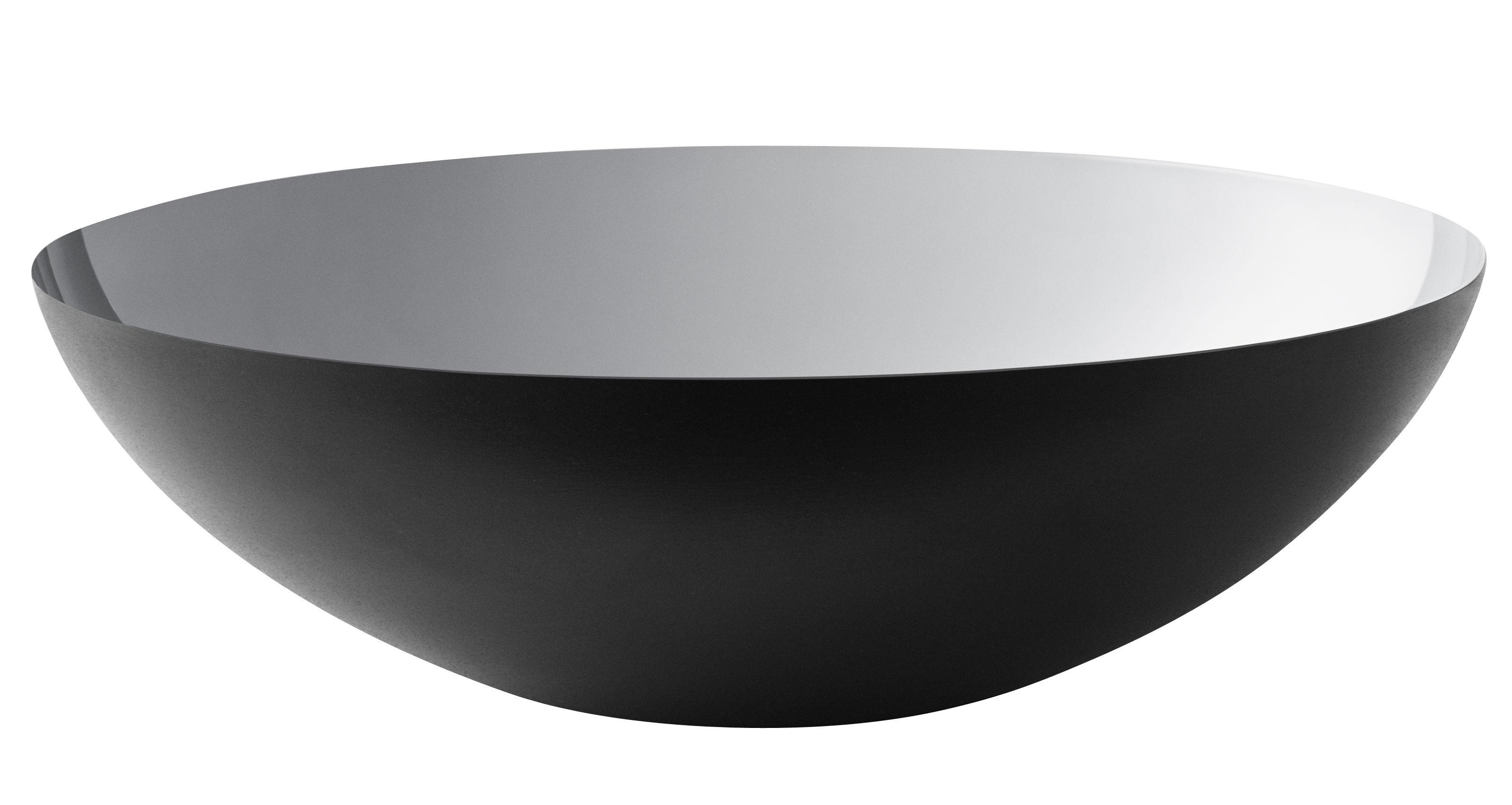 Tableware - Bowls - Krenit Salad bowl - Ø 38 x H 12 cm - Steel by Normann Copenhagen - Black / Silver - Enamelled steel