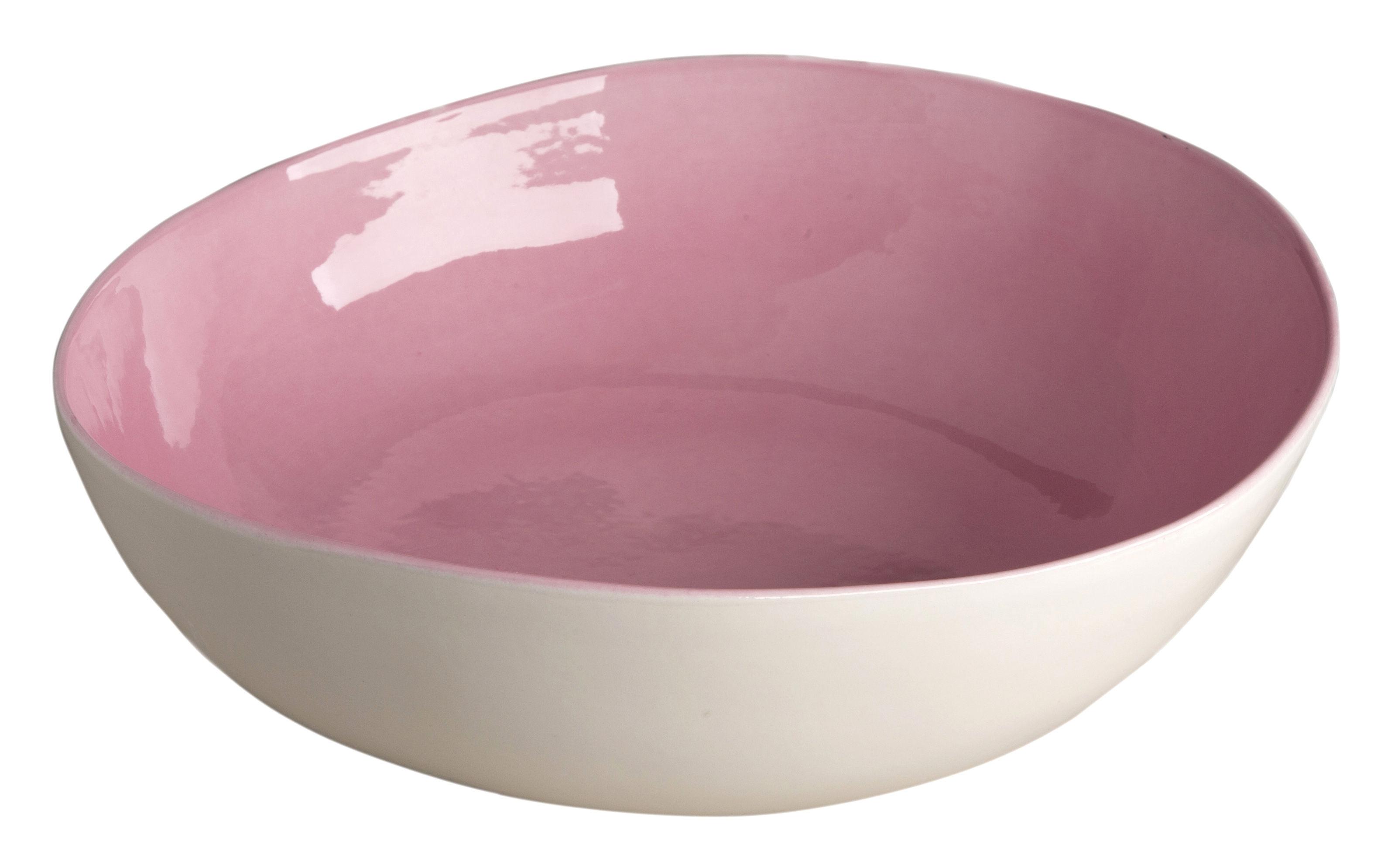 Arts de la table - Saladiers, coupes et bols - Saladier Bazelaire / Ø 28cm - Fait main - Sentou Edition - Rose - Faïence émaillée