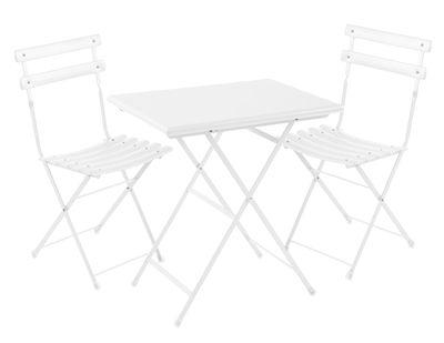 Set table & chaises Arc en Ciel / Table 70x50cm + 2 chaises - Emu blanc en métal