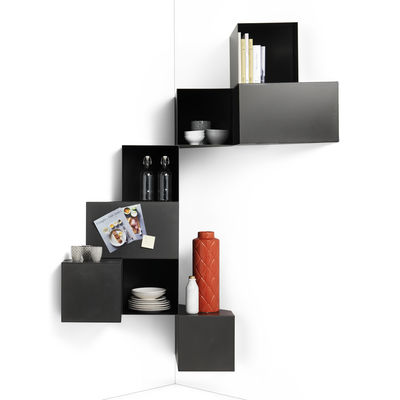 Furniture - Bookcases & Bookshelves - Cellula Shelf - / Metal - 8 units by Mogg - Brushed - Painted metal