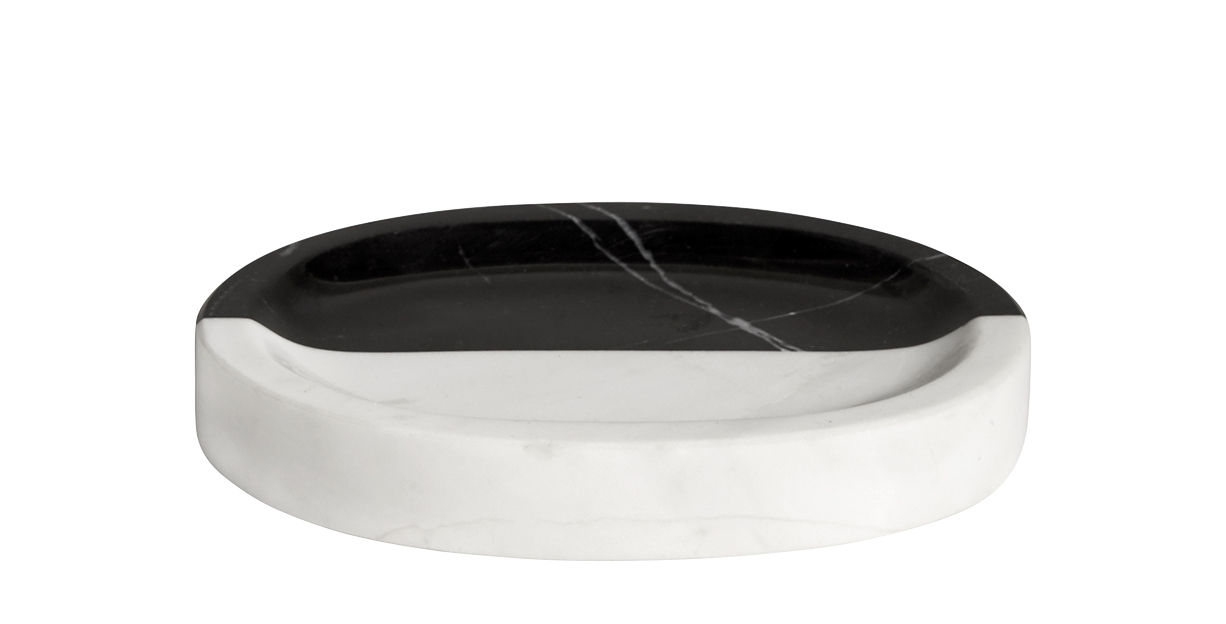 Accessories - Bathroom Accessories - Canaan Soap holder - / Marble by Jonathan Adler - Black & white - Marble