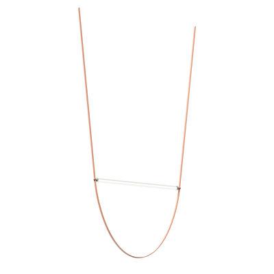 Luminaire - Suspensions - Suspension WireLine LED / Tube verre L 130 cm & sangle caoutchouc - Flos - Sangle rose / Tube transparent - Caoutchouc, Verre cannelé
