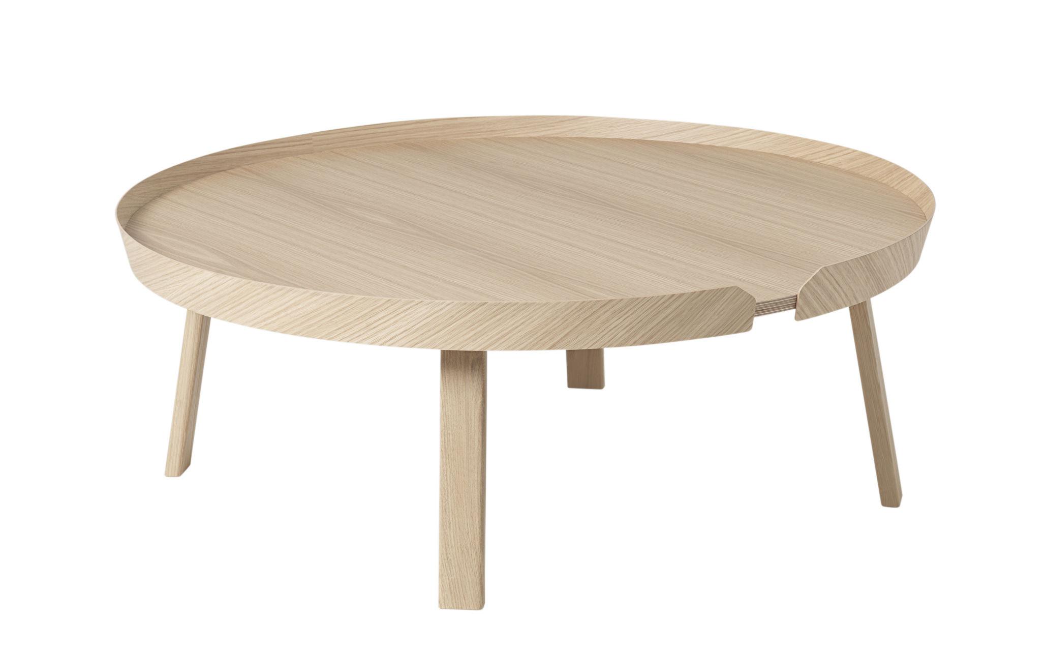 Mobilier - Tables basses - Table basse Around XL / Ø 95 x H 36 cm - Muuto - Chêne naturel - Frêne teinté