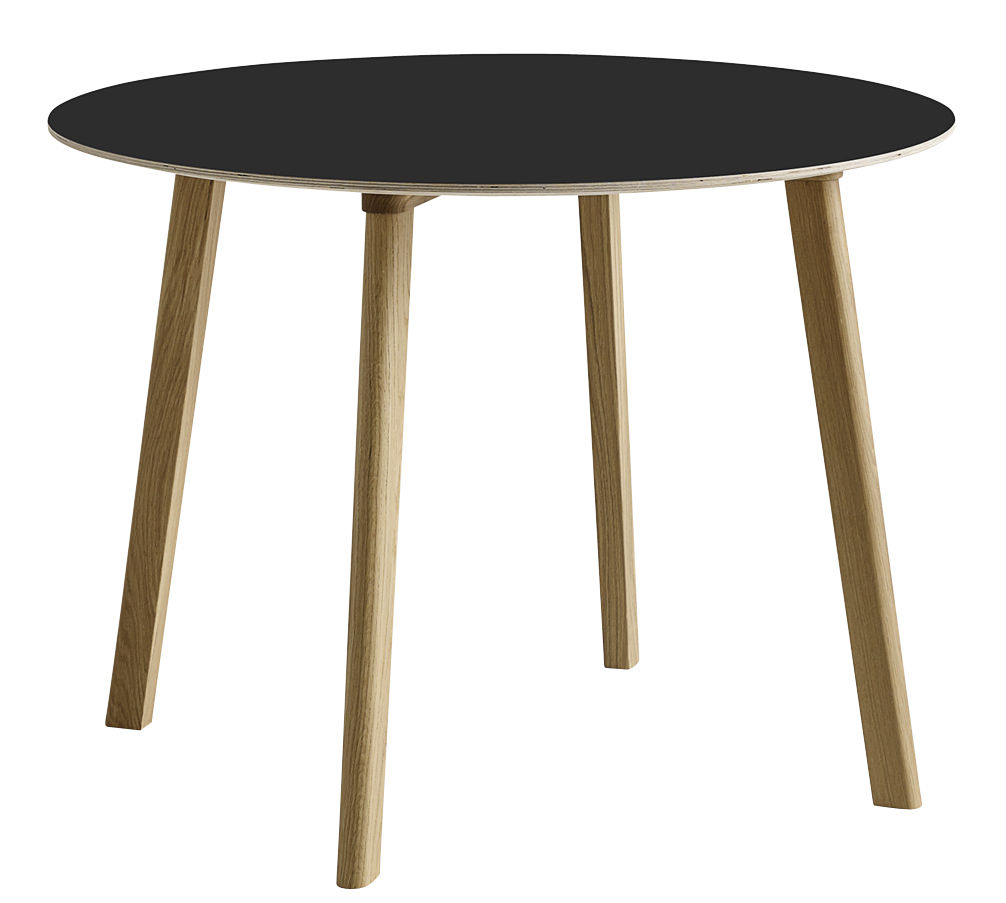 Furniture - Dining Tables - Copenhague CPH Deux 220 Table - Ø 98 cm by Hay - Black / Natural oak - Laminate, Solid oak, Stratified