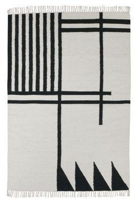 Kelim Black Lines - Large Teppich / 140 x 200 cm - Ferm Living - Weiß,Dunkelgrün