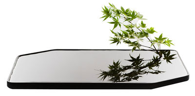 Vase Plan / Vase plat en céramique - Large - 50 x 30 cm - Moustache noir en céramique