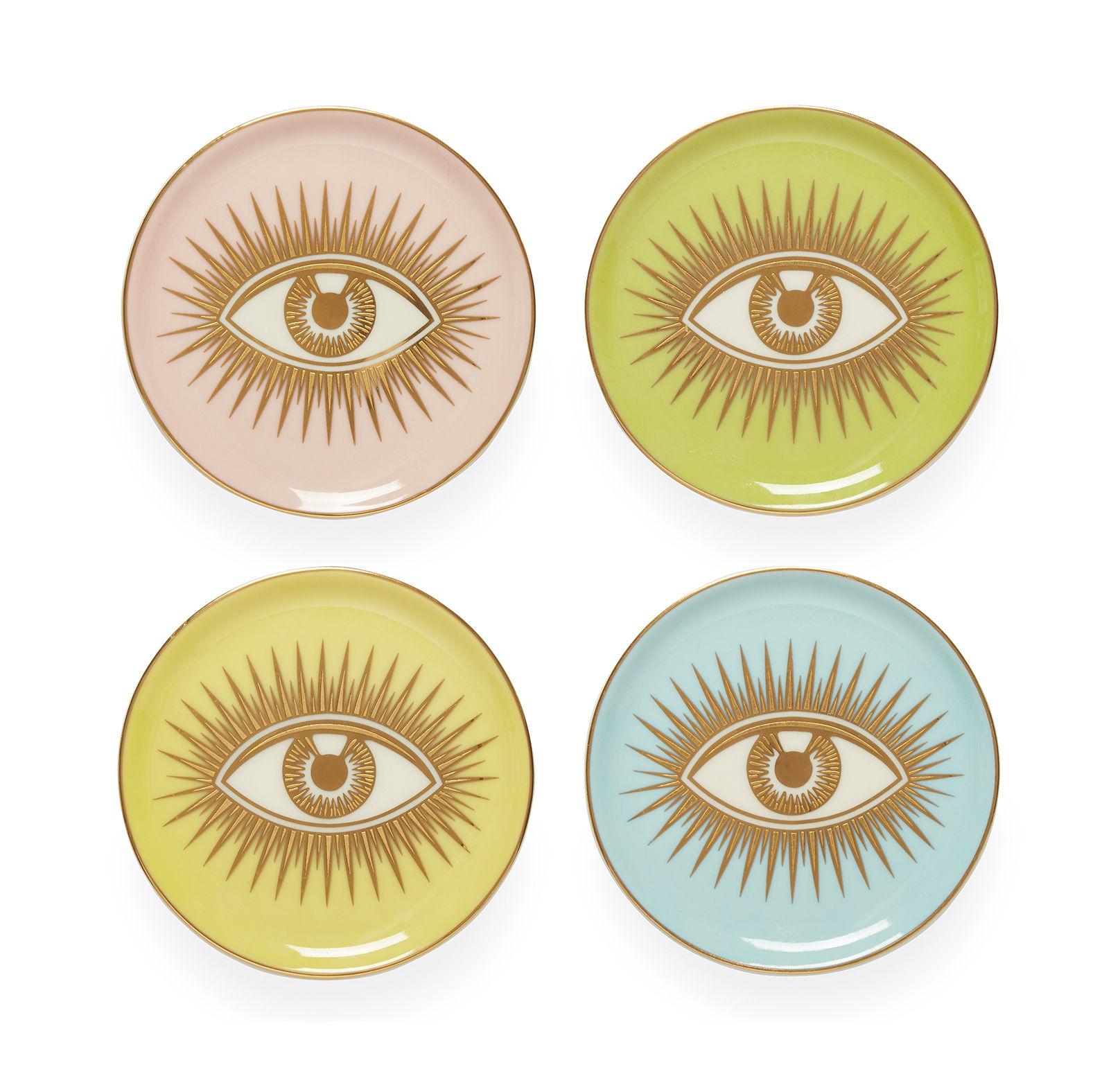 Arts de la table - Dessous de plat - Vide-poche Le wink / Set de 4 - Porcelaine & or - Jonathan Adler - Rose / Vert / Jaune / Bleu - Porcelaine