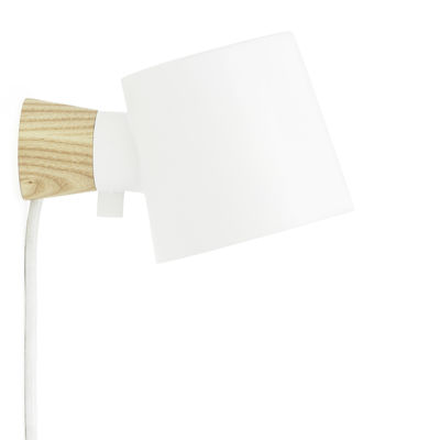 Lighting - Wall Lights - Rise Wall light with plug - Rotating / Wood & metal by Normann Copenhagen - White - Ashwood, Lacquered metal