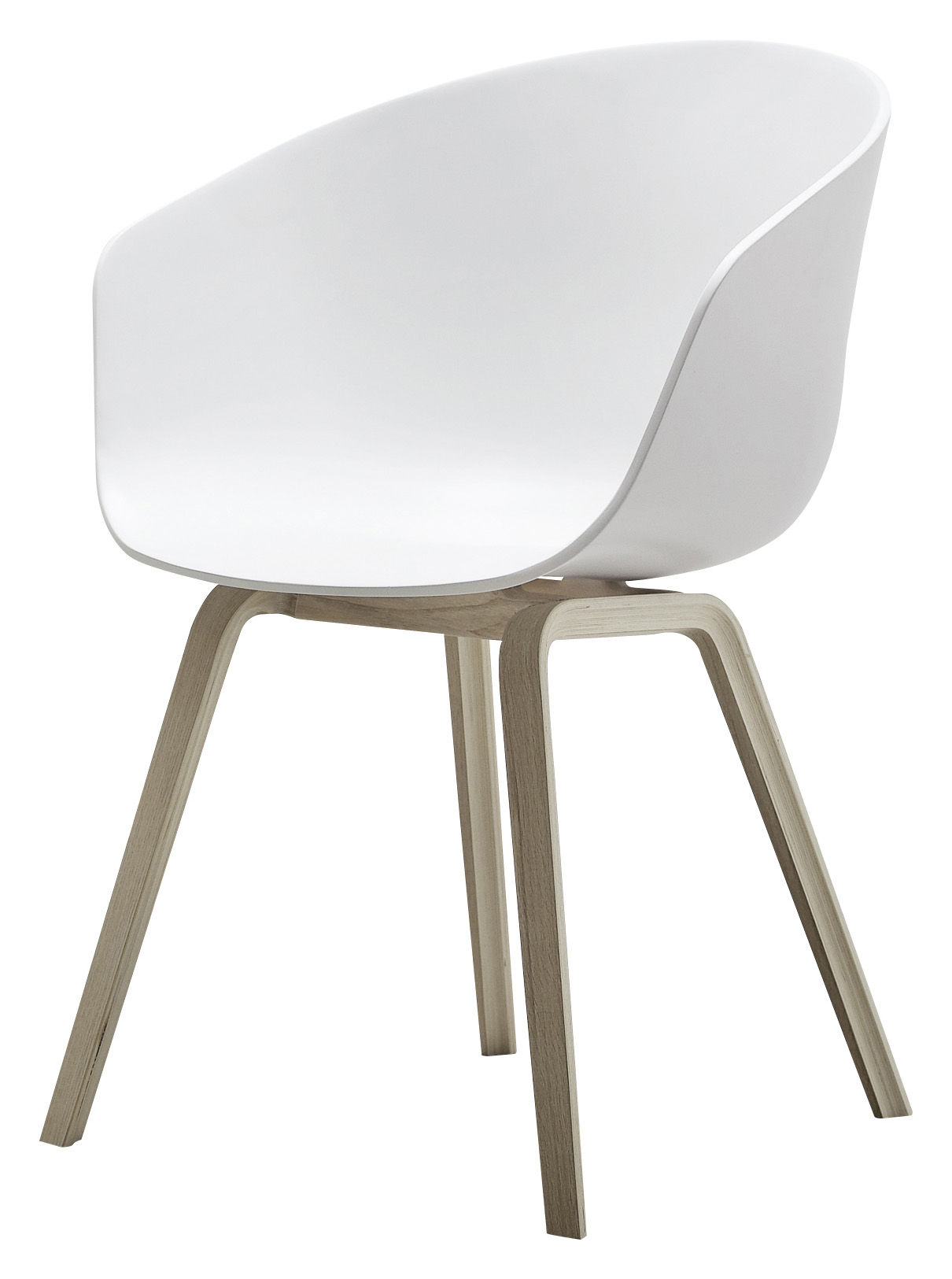 Furniture - Chairs - About a chair Armchair - Plastic shell & wood legs by Hay - White / Natural wood feet - Oak, Polypropylene