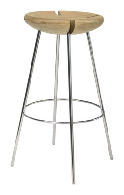 Furniture - Bar Stools - Tribo Bar stool - H 76 cm - Wood & metal legs by Objekto - solid oak with natural finish / Polished stainless steel structu - Oak, Polished recycled stainless steel