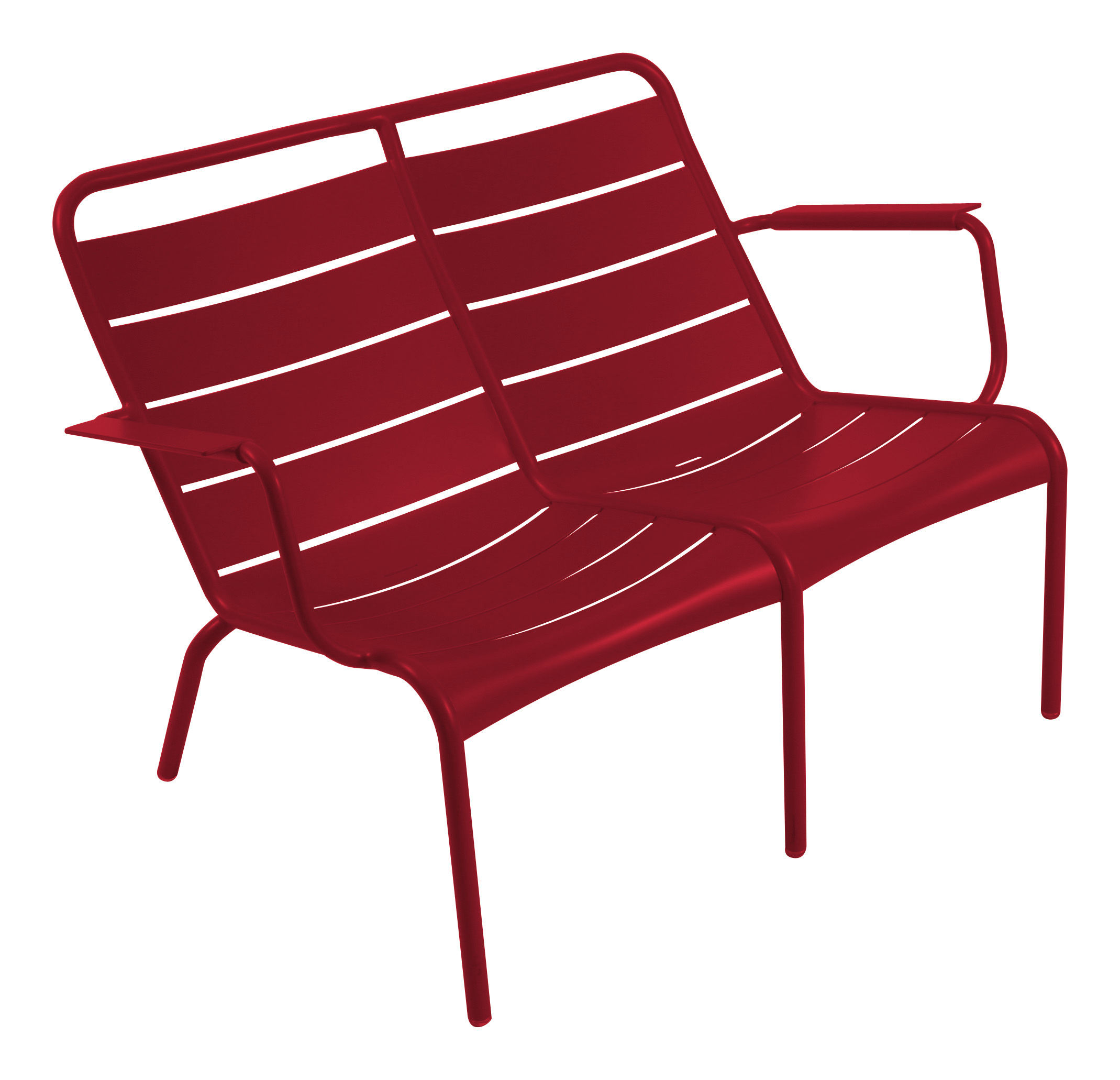 Life Style - Luxembourg Duo Bench with backrest - 2 seaters by Fermob - Chili - Aluminium