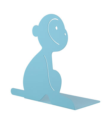 Decoration - Children's Home Accessories - Lola Book end - / Monkey - Acier by A di Alessi - Monkey / Blue - Painted steel