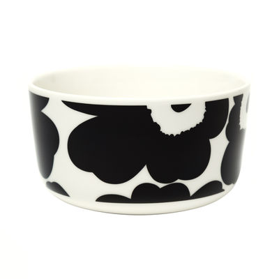 Tableware - Bowls - Unikko Bowl - / Ø 12.5 x H 6.5 cm - 50 cl by Marimekko - Unikko / Black & white - Sandstone