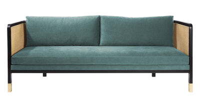 Canapé droit Cannage / L 210 cm - Tissu - RED Edition noir,naturel,laiton,bleu indien en tissu
