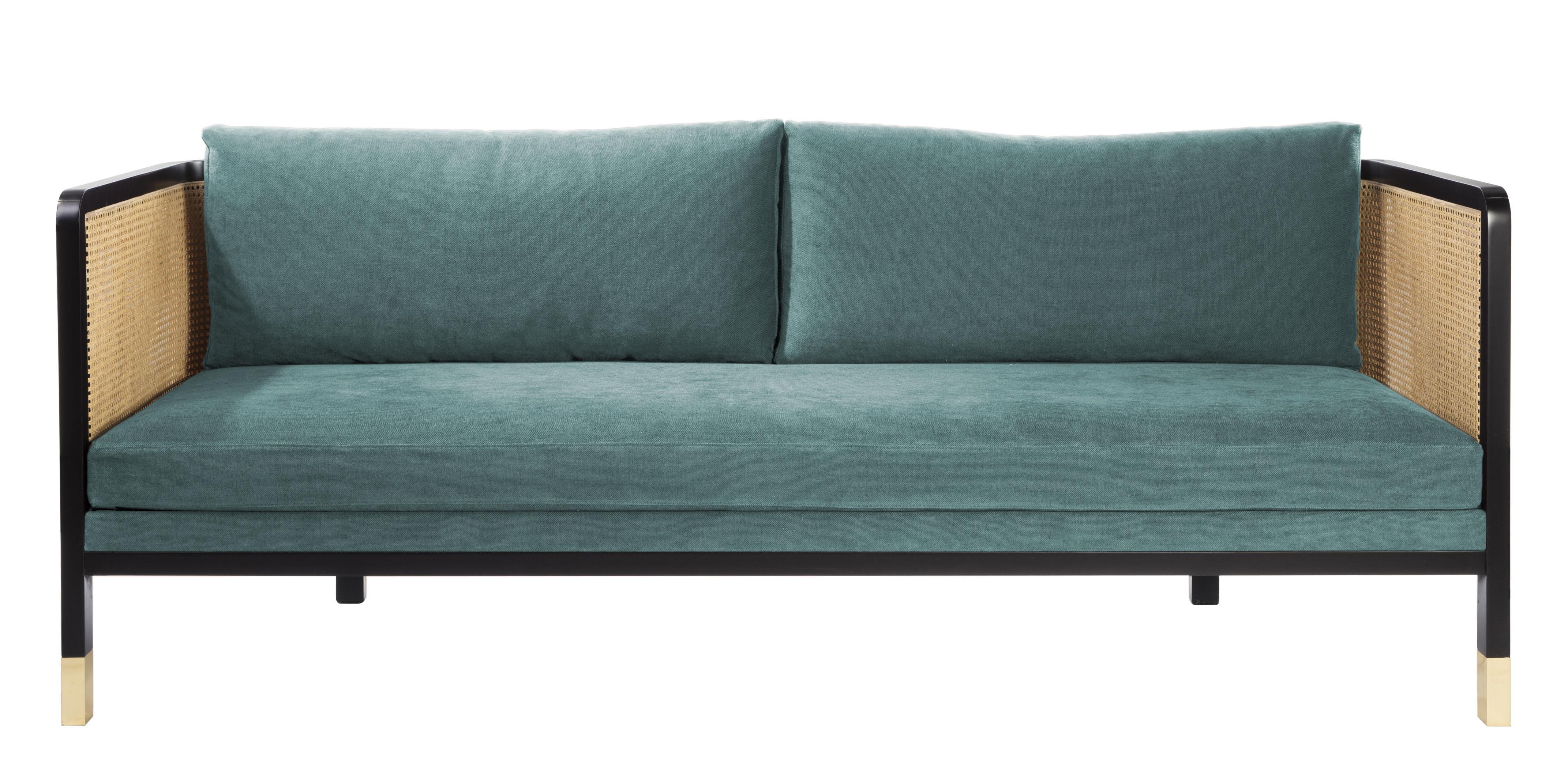 Mobilier - Canapés - Canapé droit Cannage / L 210 cm - Tissu - RED Edition - Bleu Indien / Noir & naturel -  Plumes, Acier, Coton, Hêtre teinté, Mousse haute résilience, Rotin