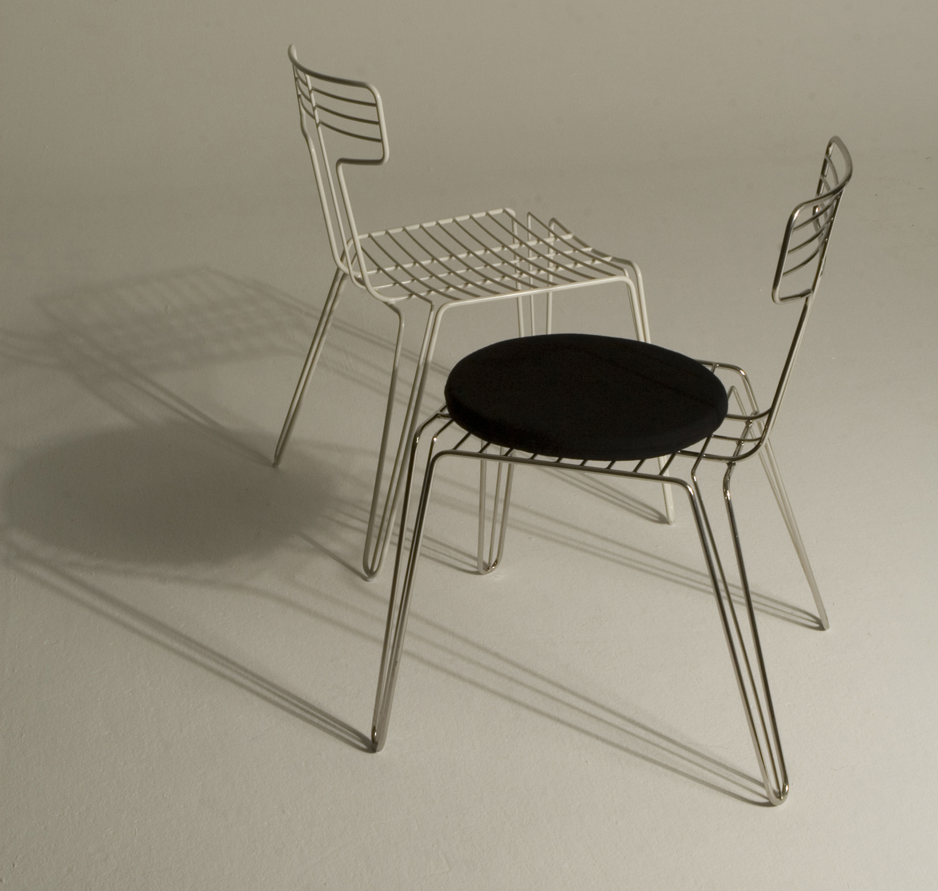 Furniture chairs wire chair metal seat cushion by tom dixon white