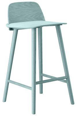 Chaise de bar Nerd H 65 cm Bois Muuto pétrole en bois