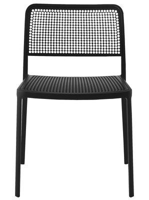 Mobilier - Chaises, fauteuils de salle à manger - Chaise empilable Audrey - Kartell - Structure noire / Assise et dossier noirs - Aluminium laqué, Polypropylène