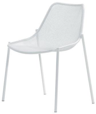 Mobilier - Chaises, fauteuils de salle à manger - Chaise empilable Round / Métal - Emu - Blanc - Acier