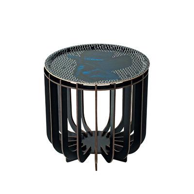 Furniture - Coffee Tables - Medusa Small Coffee table - / Ø 39 x H 42 cm - Detachable top by Ibride - Black legs / Sapphire Vibration - HPL laminate