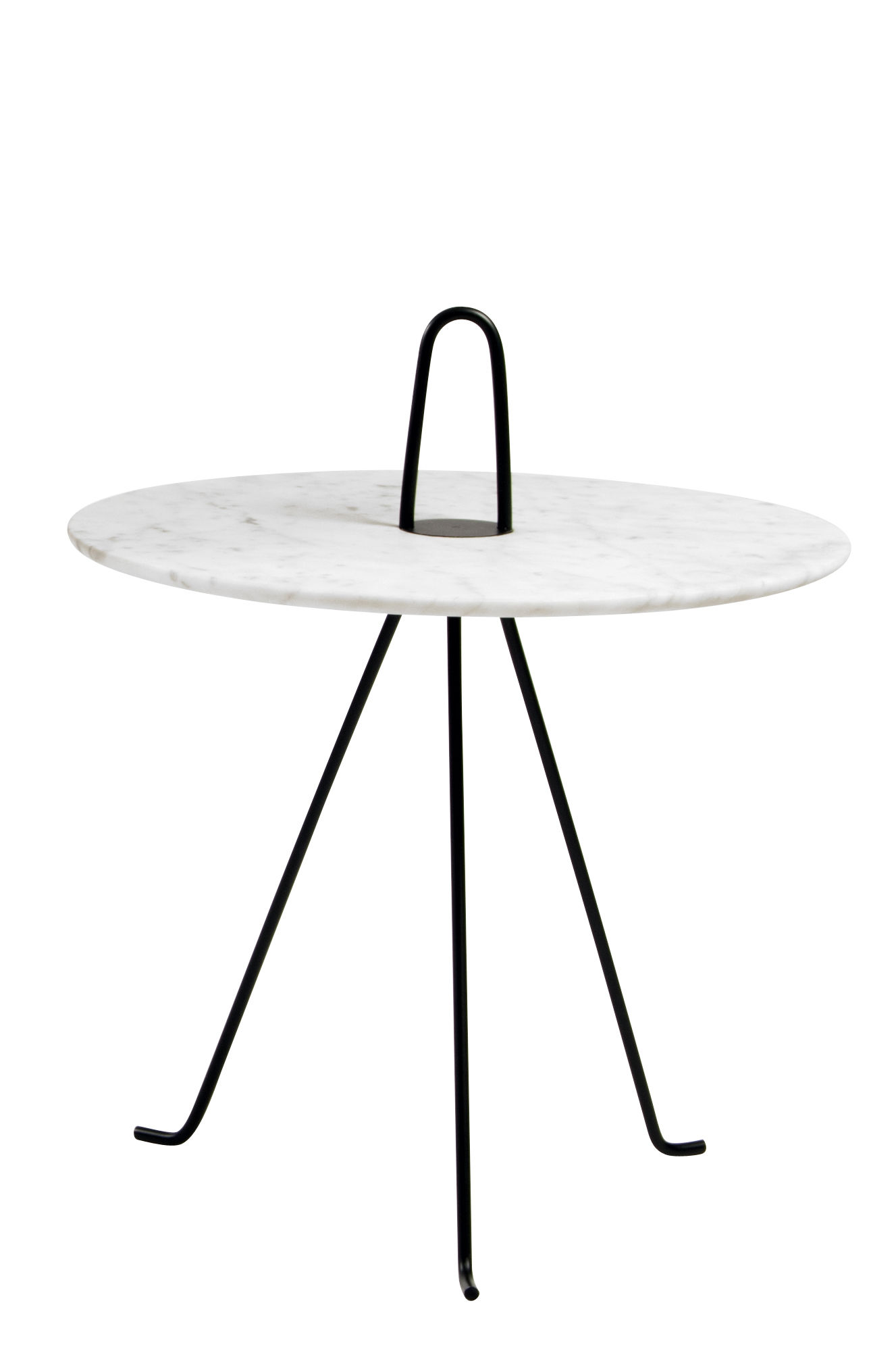 Furniture - Coffee Tables - Tipi End table - Ø 42 x H 37 cm - Marble by Objekto - White marble / Black leg - Carrare marble, Painted recycled steel