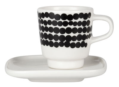 Tableware - Coffee Mugs & Tea Cups - Siirtolapuutarha Espresso cup by Marimekko - Räsymatto - Black & white - Enamelled china