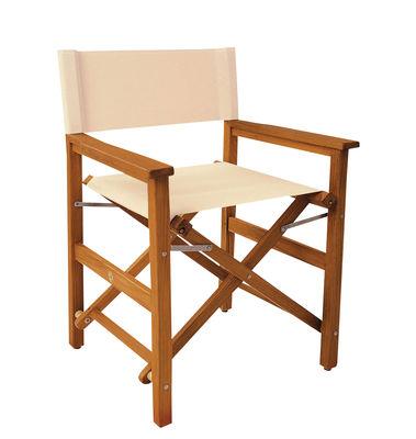 Chaise pliable Deauville Teck toile Vlaemynck blanc,teck en tissu