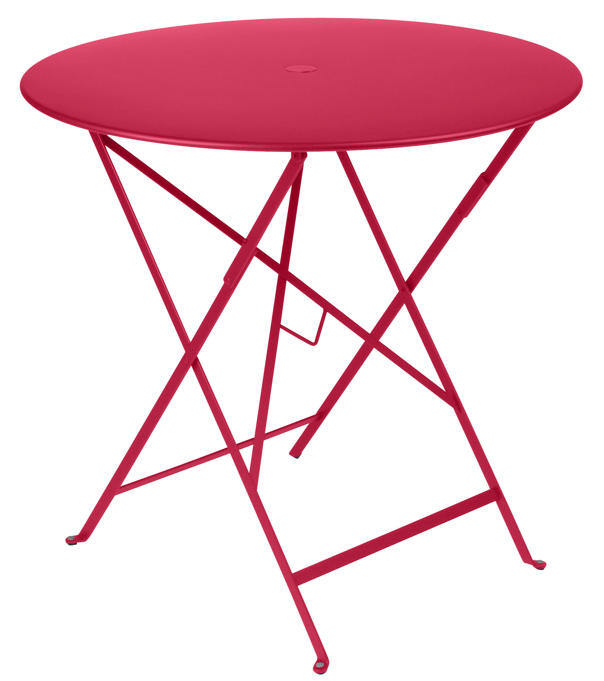 Outdoor - Garden Tables - Bistro Foldable table - /Ø 77 cm - hole for parasol by Fermob - Praline pink - Lacquered steel