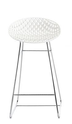 Furniture - Bar Stools - Smatrik High stool - / Indoor - H 65 cm by Kartell - White / Chromed leg - Chromed steel, Polycarbonate