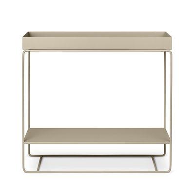 Mobilier - Meubles de rangement - Jardinière sur pied Plant Box Two / 2 niveaux  - L 80 x H 75 cm x Prof. 25 cm - Ferm Living - Beige Cachemire - Acier laqué époxy