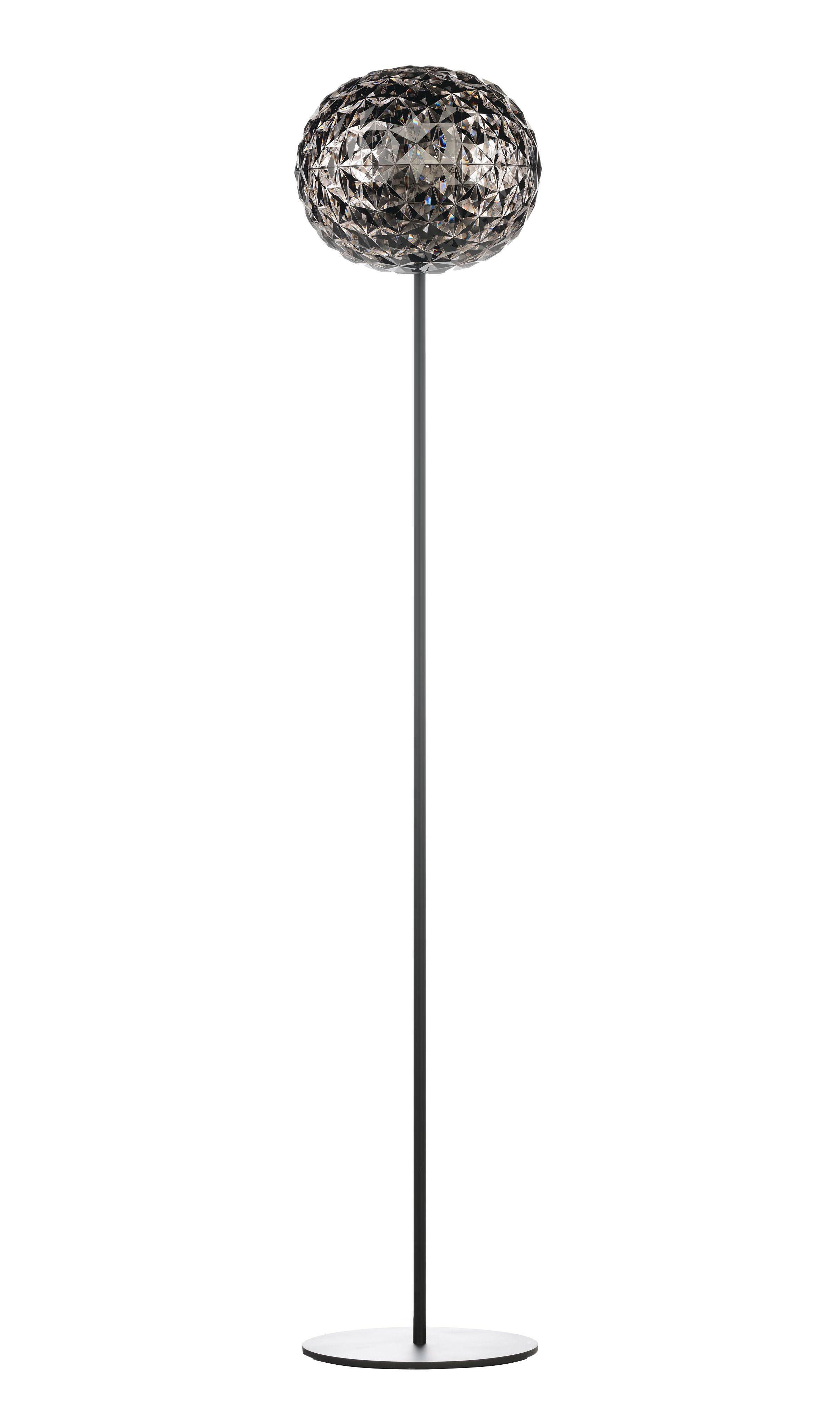 Illuminazione - Lampade da terra - Lampada a stelo Planet - / LED - H 160 cm di Kartell - Grigio fumé / Piede nero - Alluminio, Technopolymère thermoplastique