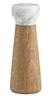 Portauova - Saliere e Pepiere - Macina sale Craft Small di Normann Copenhagen - Marmo bianco / sale - Marmo, Rovere massello