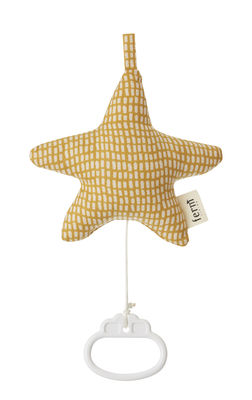Mobile musical Star - Ferm Living blanc cassé,jaune curry en tissu