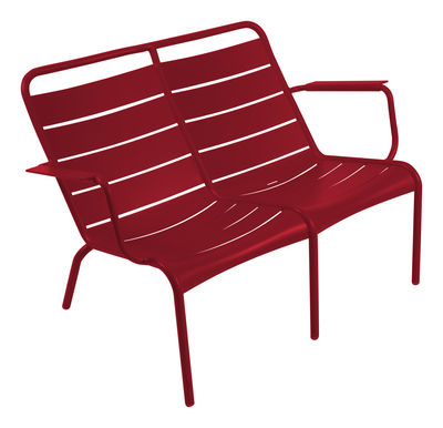 Life Style - Panca con schienale Luxembourg Duo - 2 posti di Fermob - Peperoncino - Alluminio