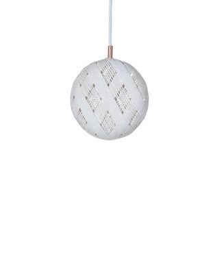 Lighting - Pendant Lighting - Chanpen Diamond Pendant - Ø  19 cm by Forestier - White / Diamond patterns - Woven acaba