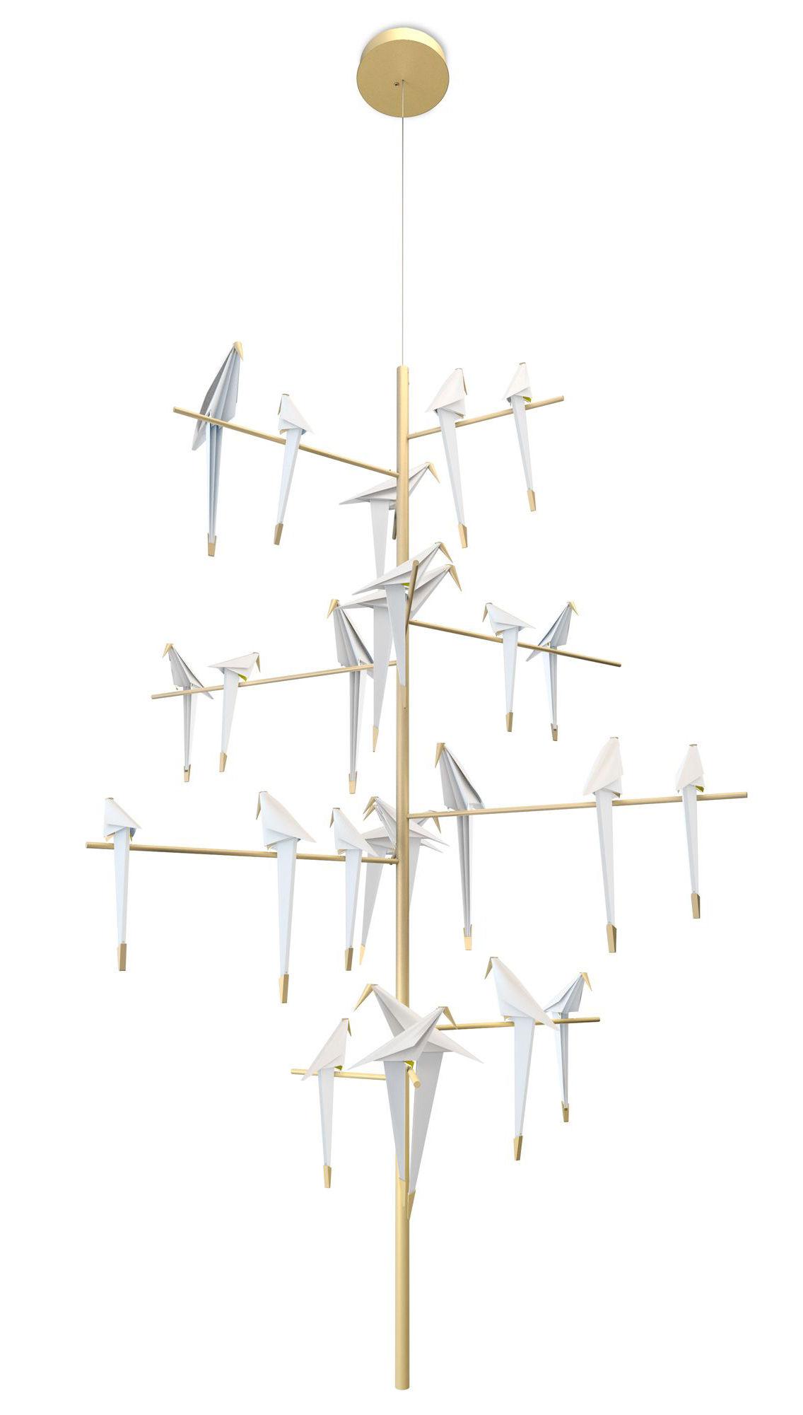 Lighting - Pendant Lighting - Perch Light Tree LED Pendant - Swiveling birds / Ø 170 x H 270 cm by Moooi - White & brass - Aluminium, Polypropylene, Steel