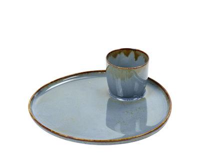 Tableware - Plates - Terres de rêves Plate - / for egg or tapas - Sandstone by Serax - Smoky blue - Enamelled sandstone
